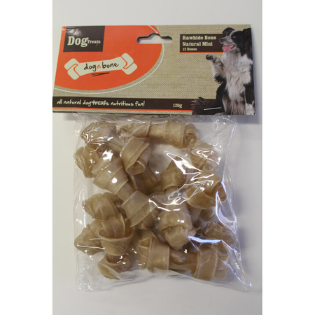 Dog n Bone Rawhide Bone Natural Mini 12 pack - 120gm