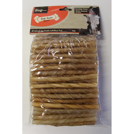 Dog n Bone Rawhide Twist Sticks Natural 100pcs