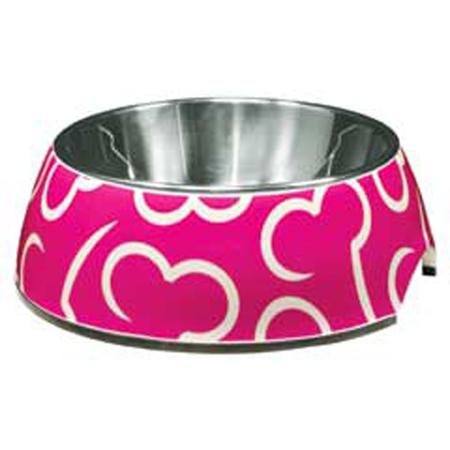 Dogit - 2 in 1 - Pink Bone Design - Durable Dog Bowl