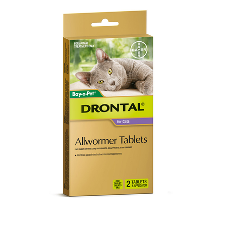 Drontal Cat Worming Tablets With Applicator - 2 pack