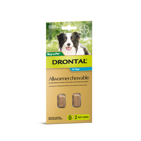 Drontal Chewable Intestinal Wormer for Medium Dogs  2pk