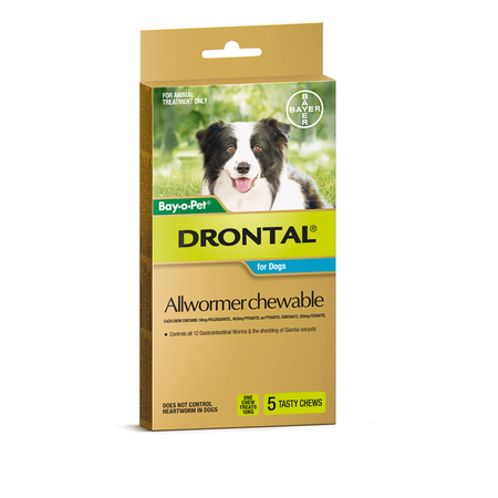 Drontal Chewable Intestinal Wormer for Medium Dogs  5pk