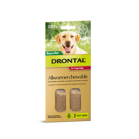 Drontal Chewable Wormer - 2 Tablets Large Dog