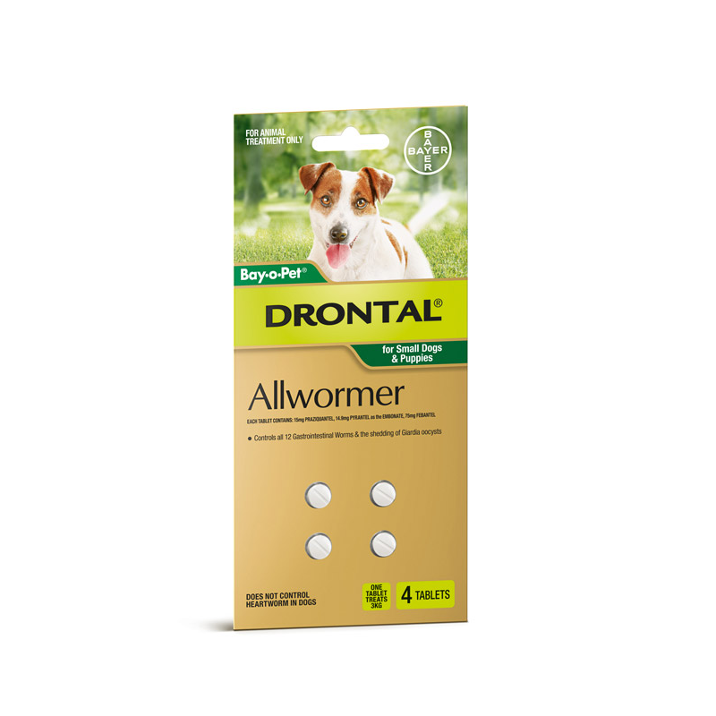 Drontal Wormer - 4 Tablets Small