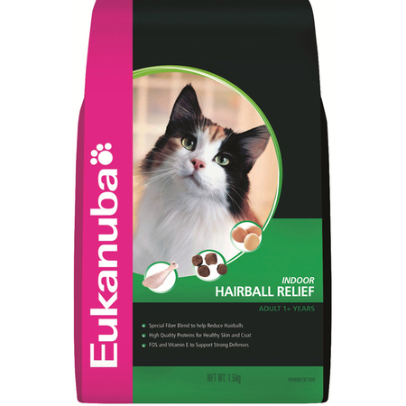 Eukanuba Adult Indoor Hairball Relief Dry Cat Food 1.5kg