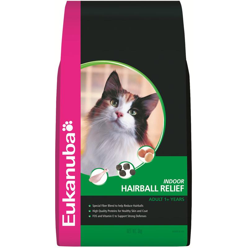 Eukanuba Adult Indoor Hairball Relief Dry Cat Food  3kg