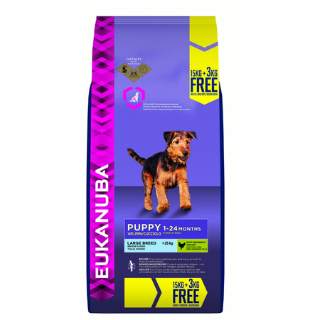 Eukanuba Large Breed Chicken Dry Puppy Food  18kg Bonus Bag