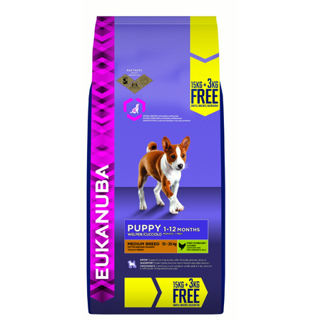 Eukanuba Medium Breed Chicken Dry Puppy Food  18kg Bonus Bag