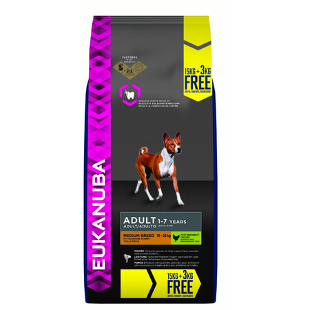 Eukanuna Adult Medium Breed Dry Dog Food 18kg Bonus Bag