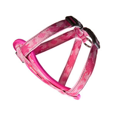 EzyDog Camouflage Chest Plate Dog Harness with Car Seatbelt Attachment Pink X Small  (29-48cm Girth)