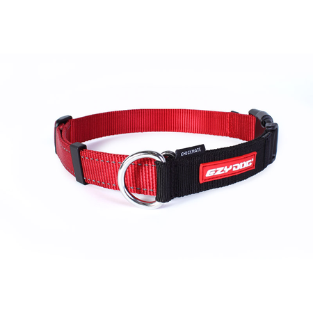 EzyDog Checkmate Nylon Correction Dog Collar Red Large (44-65cm)