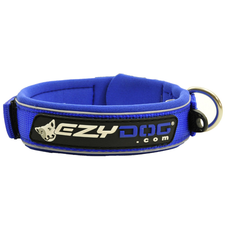 EzyDog Classic Neoprene Dog Collar Blue Small (34-38cm)