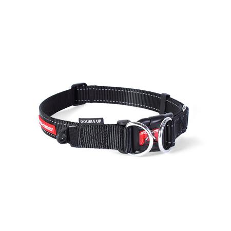 EzyDog Double Up Nylon Dog Collar Black Large (44-65cm)
