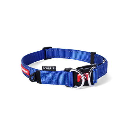 EzyDog Double Up Nylon Dog Collar Blue Small (25-38cm)
