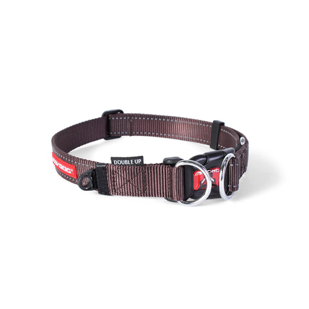 EzyDog Double Up Nylon Dog Collar Brown Large (44-65cm)