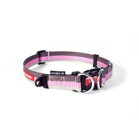 EzyDog Double Up Nylon Dog Collar Pink Large (44-65cm)