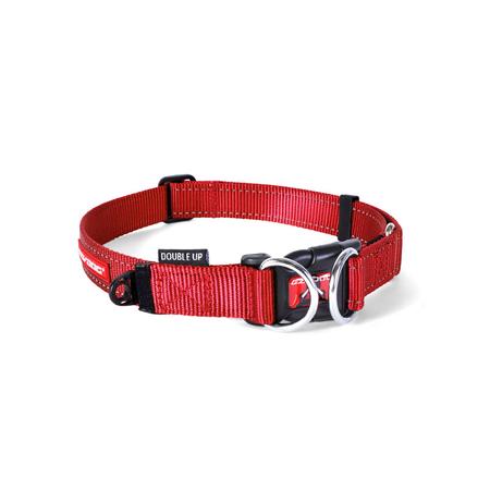 EzyDog Double Up Nylon Dog Collar Red Large (44-65cm)