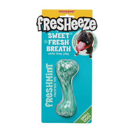 Fresheeze Fresh Mint Bone Rubber Dog Toy Green Small
