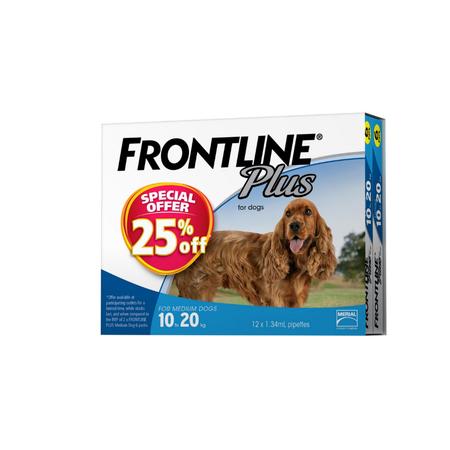 Frontline Plus Flea Treatment for Dogs 10kg 20kg   12pk