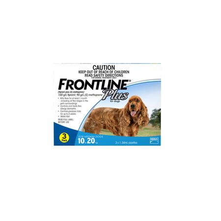 Frontline Plus Flea Treatment for Dogs 10kg 20kg   3pk