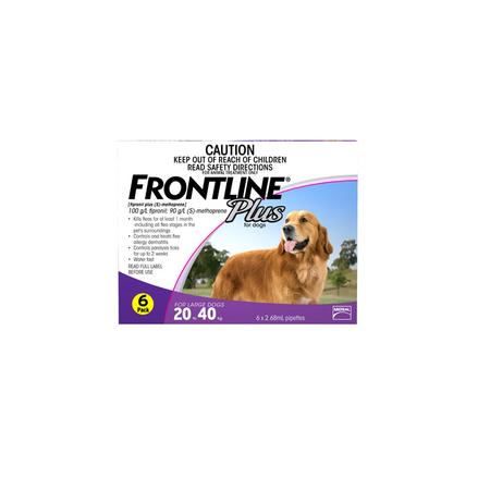 Frontline Plus Flea Treatment for Dogs 20kg 40kg  6pk