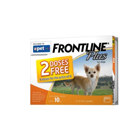 Frontline Plus Flea Treatment for Dogs  <10kg   8pk