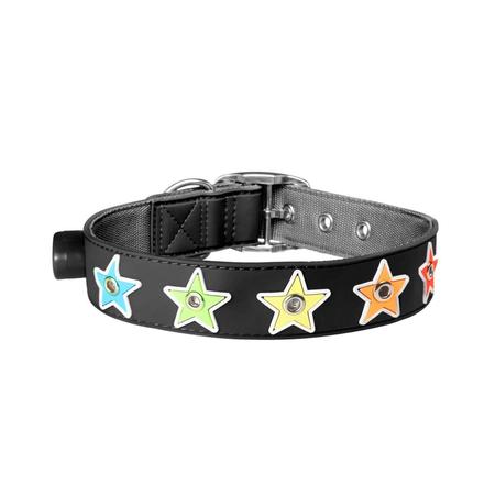 Gummi Flashing Star Black Small Collar