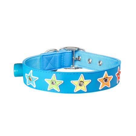 Gummi Flashing Star Blue Medium Collar