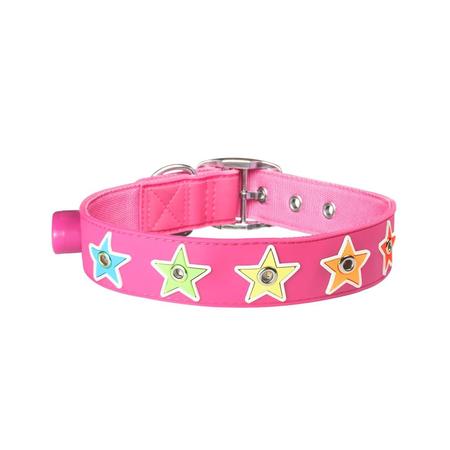 Gummi Flashing Star Pink Medium Medium Collar