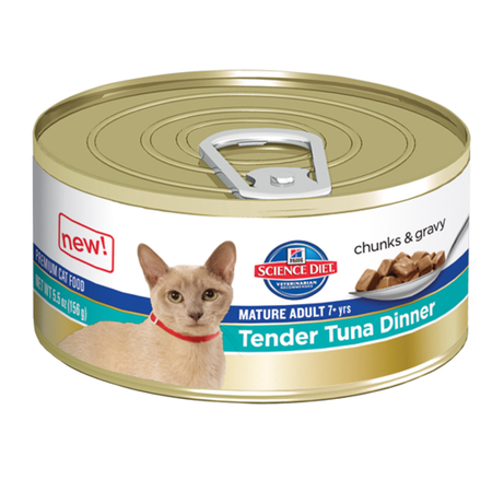 Hilli's Science Diet Mature Tender Tuna Dinner in Gravy Canned Cat Food  156gm
