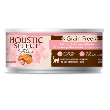 Holistic Select Grain Free Salmon and Shrimp Canned Cat Food  156gm