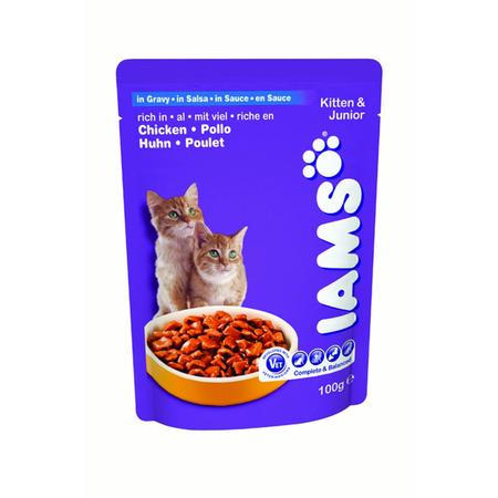 IAMS Kitten & Junior Chicken with Gravy Pouched Cat Food - 100g