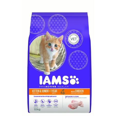Iams ProActive Health Kitten and Junior Chicken Dry Kitten Food  10kg