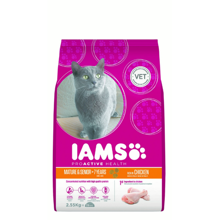 Iams ProActive Health Mature and Senior Chicken Dry Cat Food  2.55kg