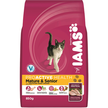 Iams ProActive Health Mature and Senior Chicken Dry Cat Food  850gm