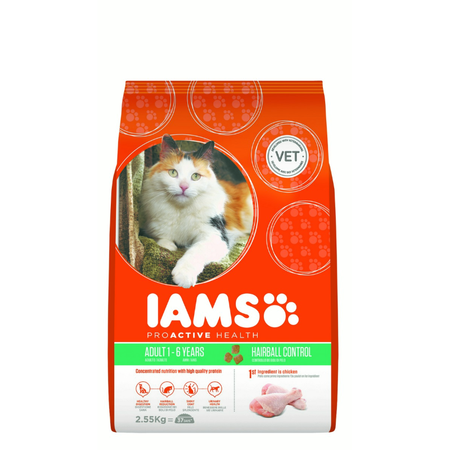 Iams Proactive Health Adult Hairball Care Dry Cat Food  2.55kg