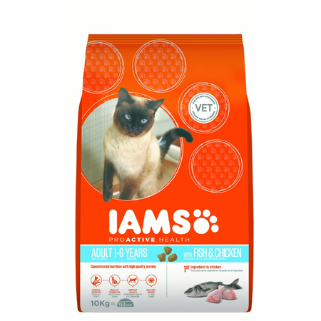 Iams Proactive Health Adult Ocean Fish with Rice Dry Cat Food  10kg