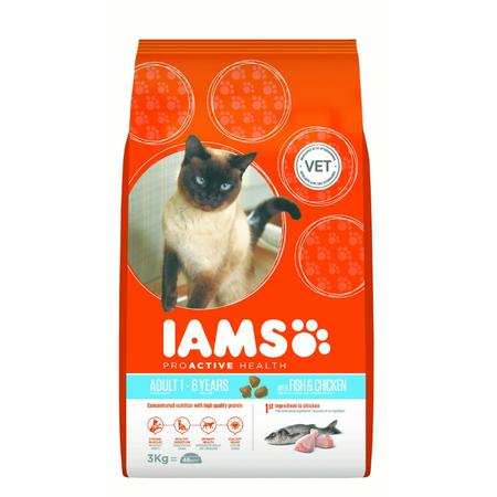 Iams Proactive Health Adult Ocean Fish with Rice Dry Cat Food  3kg
