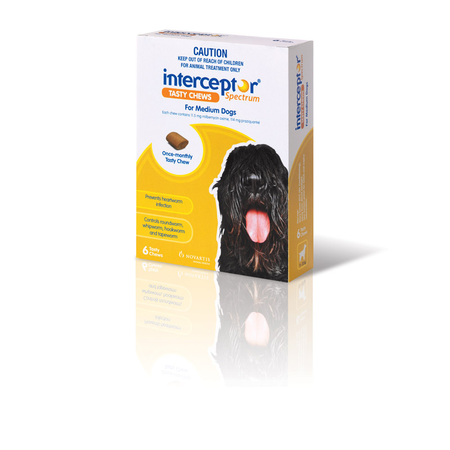 Interceptor Spectrum Tasty Chew Worming Treatment for Medium Dogs  6pk