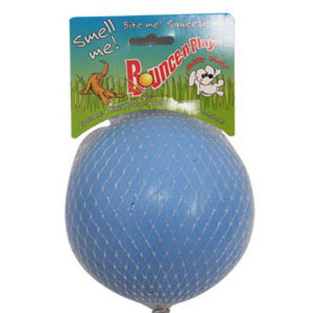 Jolly Pets Bounce N Play Super Bouncy Dog Ball Toy Blue 4.5In