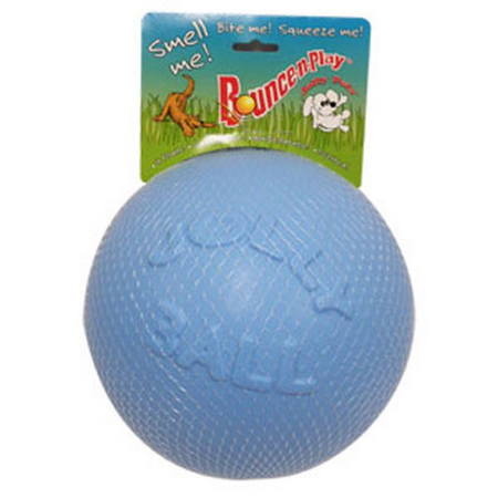 Jolly Pets Bounce N Play Super Bouncy Dog Ball Toy Blue 8In