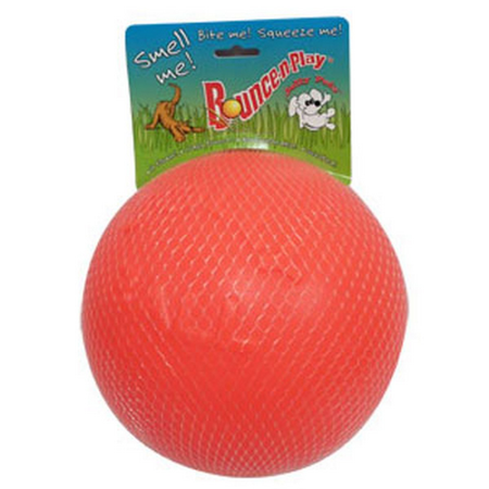 Jolly Pets Bounce N Play Super Bouncy Dog Ball Toy Orange 8In