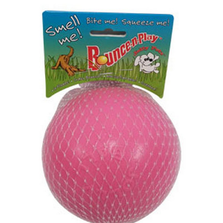 Jolly Pets Bounce N Play Super Bouncy Dog Ball Toy Pink 4.5In