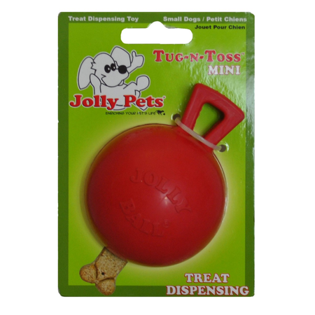 Jolly Pets Mini Tug N Toss Treat Dispensing Dog Toy Red 4In