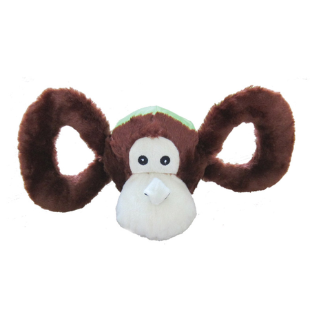 Jolly Pets Tug A Mals Plush Monkey Sqeaky Dog Toy Brown Medium