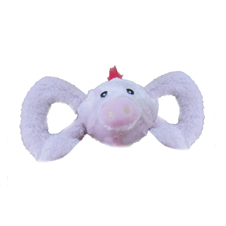 Jolly Pets Tug A Mals Plush Pig Squeaky Dog Toy Pink Large