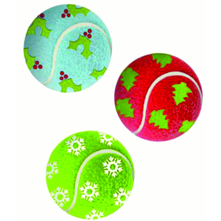 KONG Christmas Holiday 3 Pack Tennis Balls - Medium