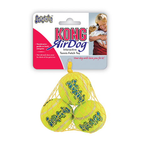 Kong AirDog Squeaker Balls Dog Fetch Toy 3 Pack Yellow Small