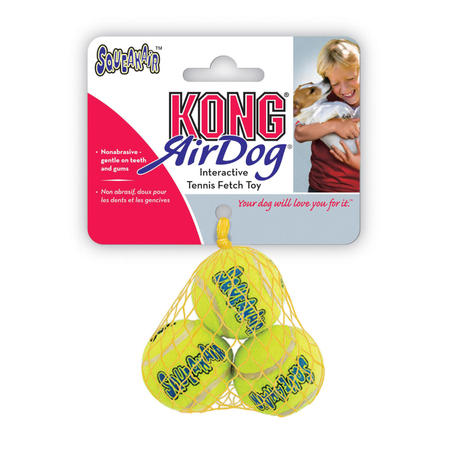 Kong AirDog Squeaker Balls Dog Fetch Toy 3 Pack Yellow X Small