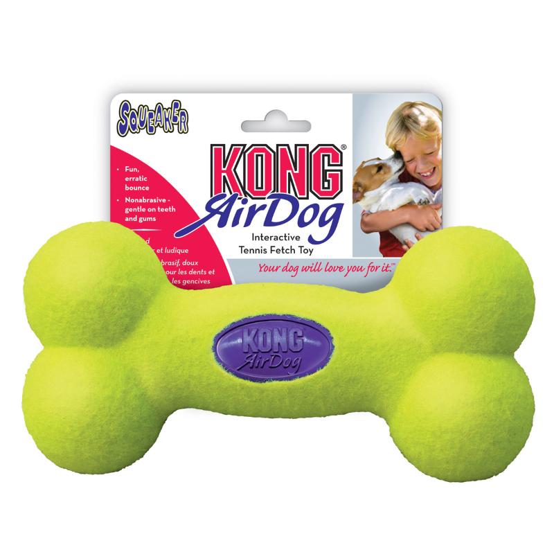 Kong AirDog Squeaker Bone Dog Fetch Toy Yellow Large